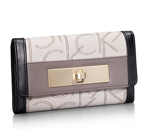 Calvin Klein Womens Addie City Continental Wallet Granite