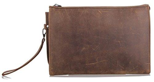 Zenness Genuine Leather Small Document Bag Business Wristlet Handbag Clutch Bag
