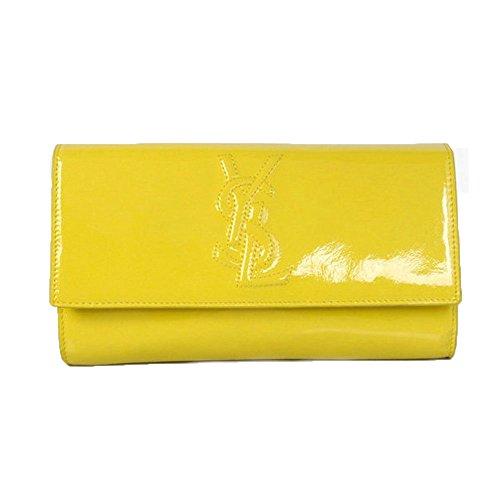 YSL Yves Saint Laurent Belle Du Jour Neon Yellow Patent Leather Large Clutch Bag