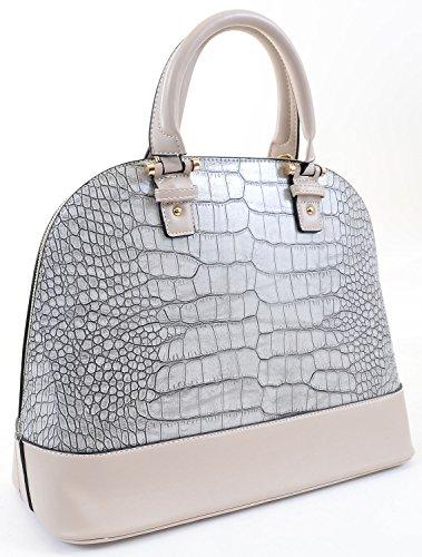 Designer Inspired Vegan Croc Leather Satchel Cross Body Tote Handbag