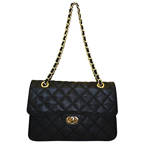 Carbotti Designer Quilted Leather Shoulder Handbag Black