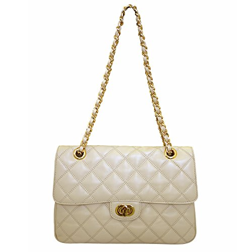 Carbotti Designer Quilted Leather Shoulder Handbag – Cream