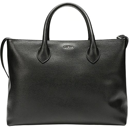 Furla Martha Black Saffiano Leather Convertible Large Tote