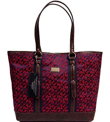Tommy Hilfiger Logo Large Tote Bag Handbag Purse (Burgundy / Blue / Brown)