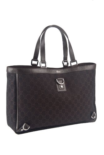 """Gucci Large Monogram Brown Canvas """"Abbey"""" Tote Bag"""