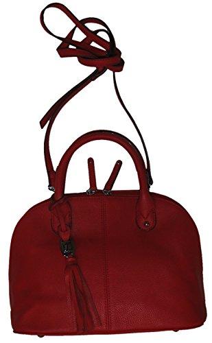 Tignanello Women's Small Genuine Pebble Leather, Mini Dome Tote Handbag, Tomato Red