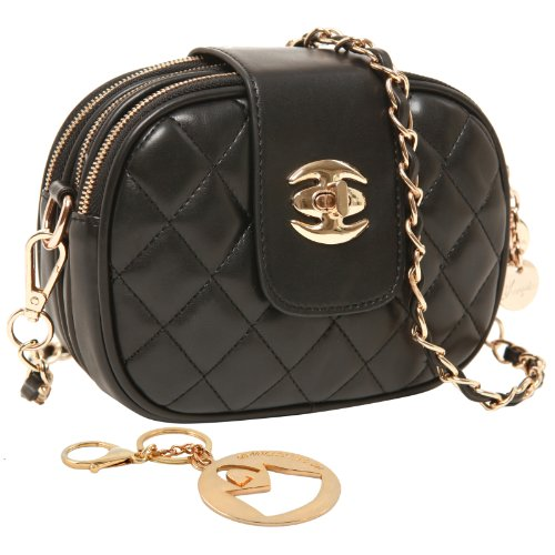 MG Collection SELMA Black Quilted Fashion Mini Clutch Crossbody Evening Handbag