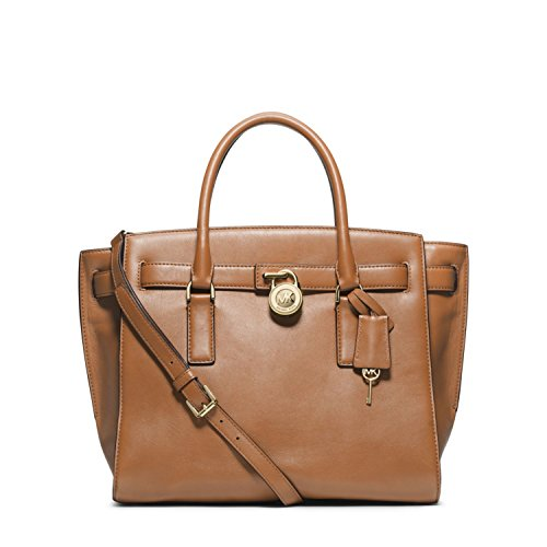 Michael Kors Hamilton Traveler Large Leather Satchel – Suntan