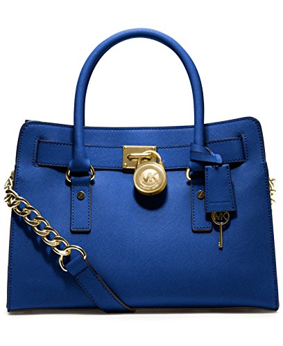 Hamilton Saffiano Leather E/W Satchel in Electric Blue