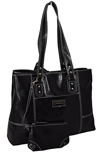 Franklyn Kovey Women's Business Tote Bag With Padded Compartment For Computer Up To 15.4″ – Black