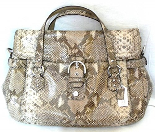Coach Campbell Python Leather Eva Flap Satchel Bag Sv/white/grey