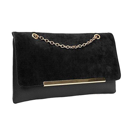 BMC Faux Suede Leather Gold Metal Chain Accent Envelope Style Clutch Handbag