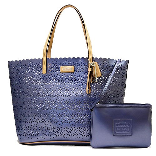 Coach Park Metro Eyelet Leather Tote with Wristlet in Slate Blue – Style 27544