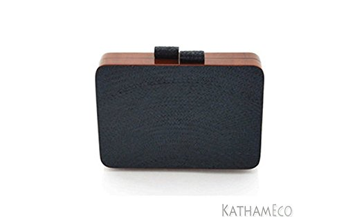 Acacia Wood Shireen Clutch in Black Sustainable