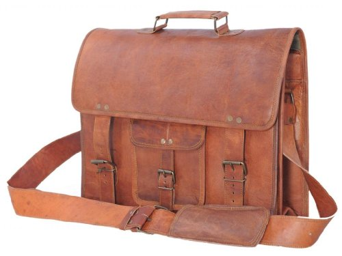 Passion Leather 16 Inch Vintage Look Leather Laptop Messenger Briefcase Satchel Bag