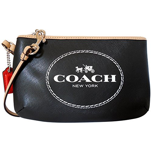 Coach Horse & Carriage Black Saffiano Leather Medium Wristlet