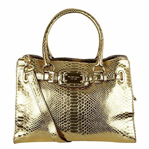 MICHAEL KORS Hamilton Gold Snake Embossed Handbag authentic leather