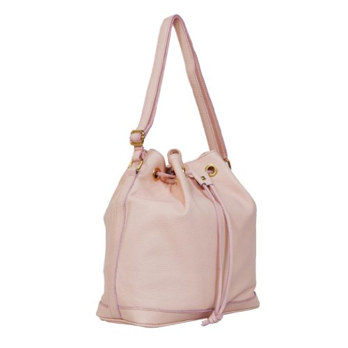 HS 5150 CP CALISTA Made in Italy Leather Pale Pink Bucket Shoulder Bag