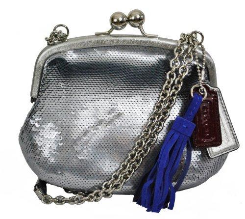 Coach 21218 Poppy Small Silver Pewter Sequin Evening Handbag