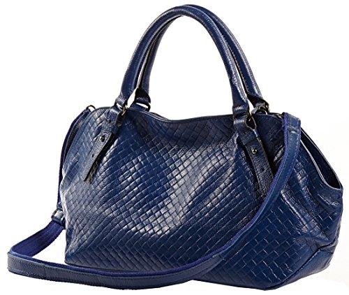 Heshe Lady Fashion Genuine Leather Woven Pattern Cross Body Shoulder Bag Handbag