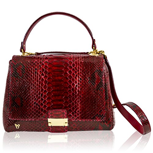 Ghibli Italian Designer Ruby Red Python Leather Top Handle Bag w/Flap
