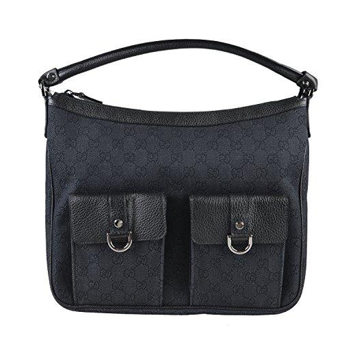 Gucci Women's Black Canvas Leather Trimmed Guccissima Print Shoulder Bag