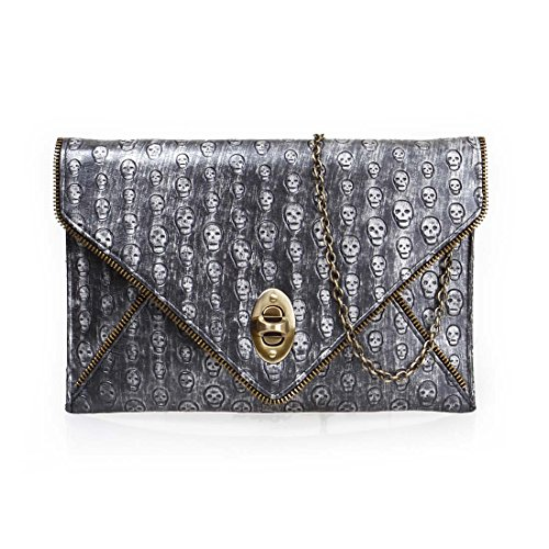 BMC Womens PU Leather Skull Pattern Zipper Accent Envelope Flap Clutch Handbag