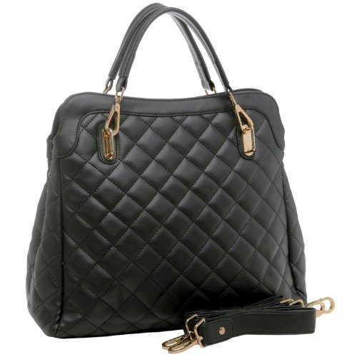 MG Collection TAHIYA Black Diamond Quilted Office Tote Briefcase Satchel Handbag