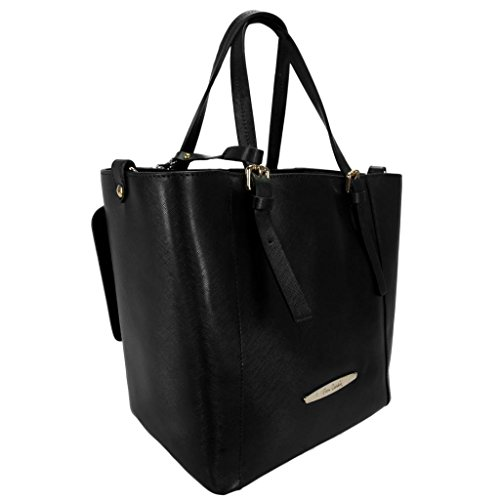 Pierre Cardin 1335-S NERO Made in Italy Black Leather Structured Tote/Shoulder Bag