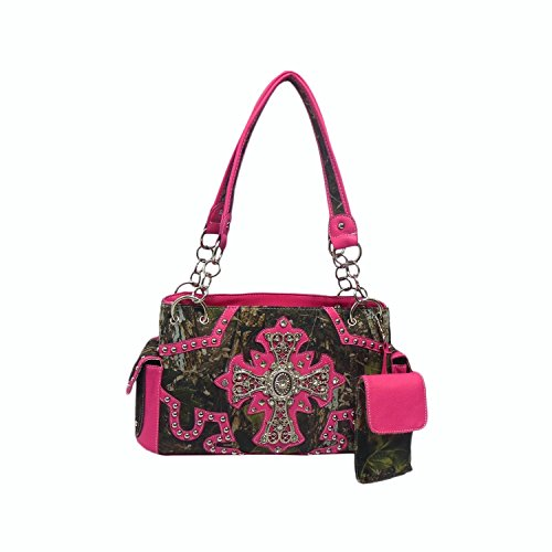 Cowgirl Bling Camo Purse – Rhinestone Cross & Concealed Carry Gun Pocket