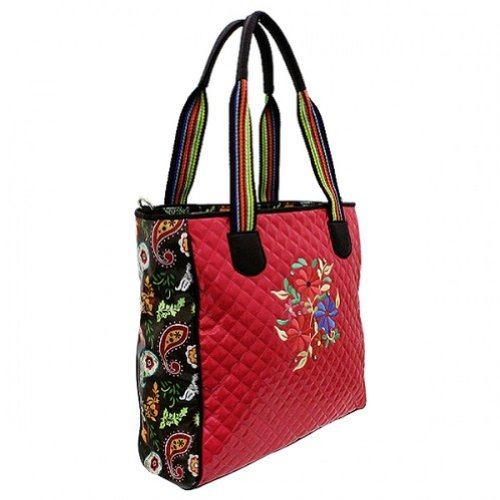 Pink Quilted Floral Embroidered Designer Inspired Handbag Tote Purse D2