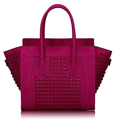 Womens Designer Pink Fuchsia Studded Tote Leather Style Office Handbag KCMODE