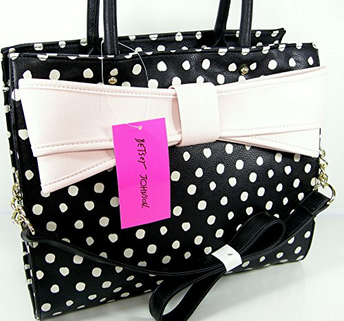 Betsey Johnson Purse Satchel Tote Black Multi Pink Bow Wow Shoulder Hand Bag