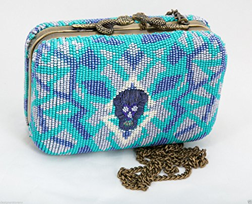 House of Harlow 1960 By Nicole Richie Marley Beaded Skull Clutch Bag Turquoise