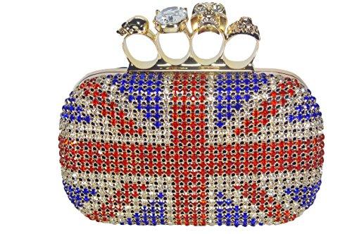 Milanblocks Women's Skull Knuckle Ring Shinny Crystal Union Jack Box Studs Skull Clutch Evening Bag