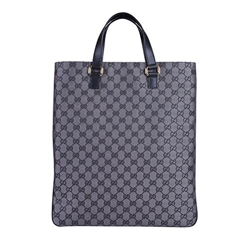 Gucci Women's Silver Canvas Leather Trimmed Guccissima Print Tote Handbag Bag