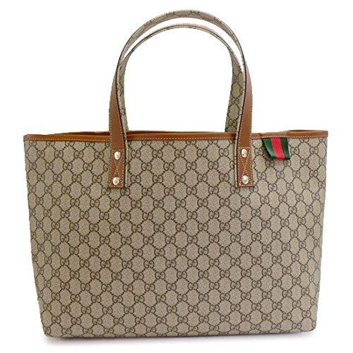 GUCCI Tote bag VINTAGE PVC GG design canvas x leather Beige x Brown 211134 KGD3G