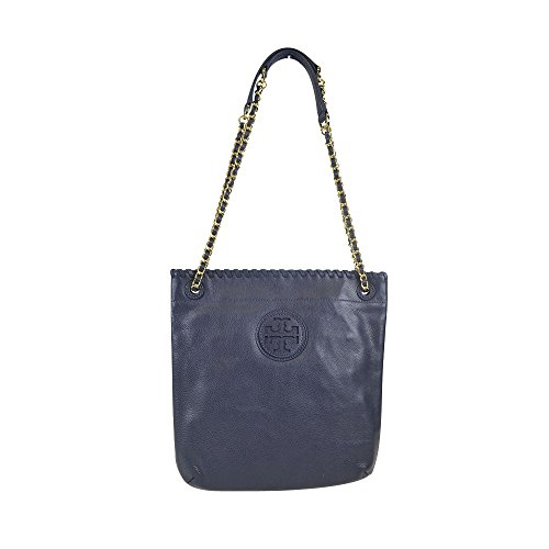 Tory Burch Marion Leather Shoulder Bag Tory Navy w Chain