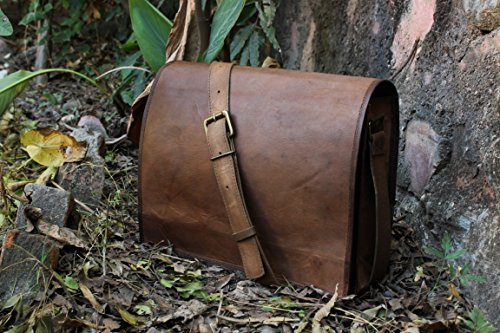 handolederco. Unisex Cross Shoulder Full Flap Laptop Leather Messenger Bag Satchel Dark Brown