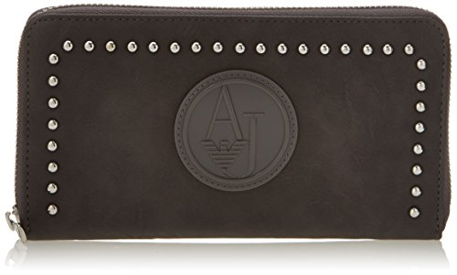 Armani Jeans ZY Studded Large Zip Wallet,Grey,One Size