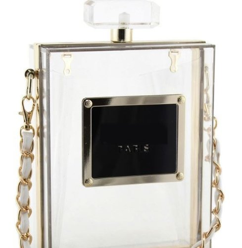 Fashion Celebrity Perfume Bottle Clutch No.5 Hard Case Acrylic Cluth/Purse/Handbag with Straps