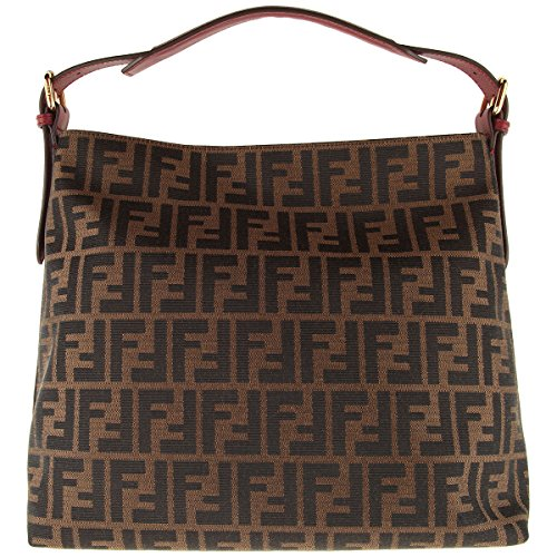 Fendi Genuine Authentic Zucca Pattern Tobacco/brown Rose Leather Canvas Hobo Shoulder Bag
