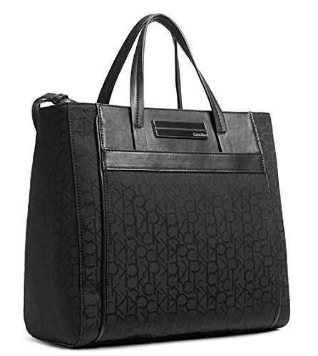 Calvin Klein Logo Jacquard Sport Center Zip Handbag (Black)