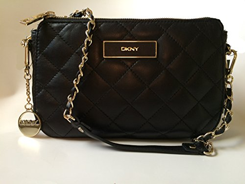 DKNY Black Quilted Soft Nappa Leather Purse/Clutch
