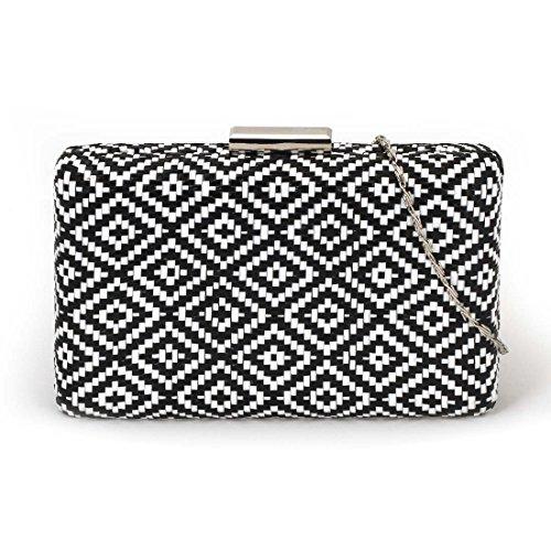 BMC Stylish Geometric Woven Diamond Twine Design Statement Club Clutch Handbag