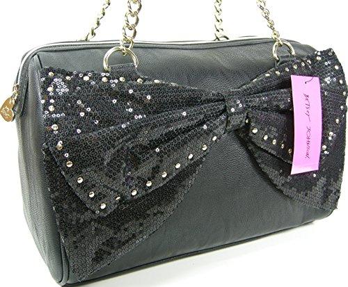 Betsey Johnson 'Bow Regard' Large Satchel w Sequin Bow, Black