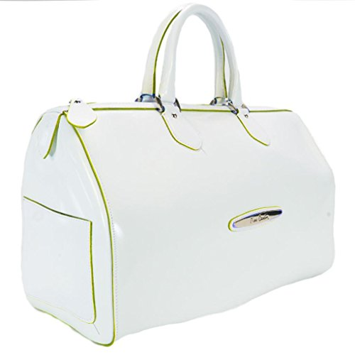 Pierre Cardin 4065 BIANCO/VERDE Made in Italy White/Green Leather Medium Speedy/Bowling Bag