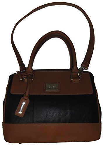 "Tignanello Women's Pebble Leather ""Social Status"" Satchel, Black/Cognac"
