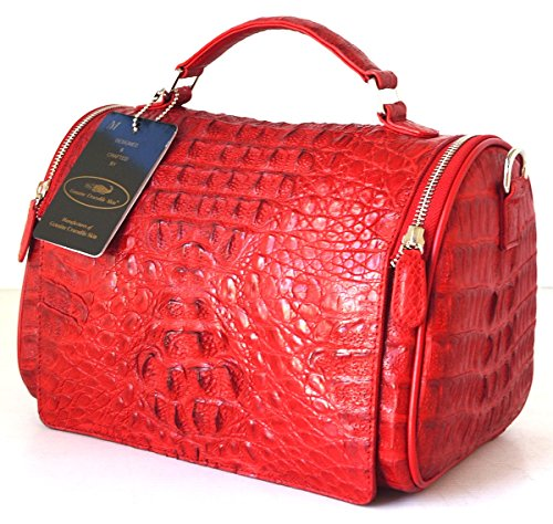 +ThaiPremiumHouse+100% GENUINE CROCODILE LEATHER HANDBAG CLUTCH BAG PURSE RED NEW W/Strap