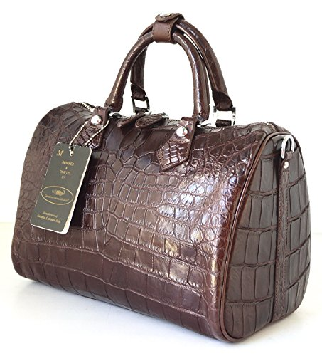 +ThaiPremiumHouse+100% BELLY SKIN GENUINE CROCODILE LEATHER HANDBAG CLUTCH BAG PURSE DARK BROWN NEW W/Strap